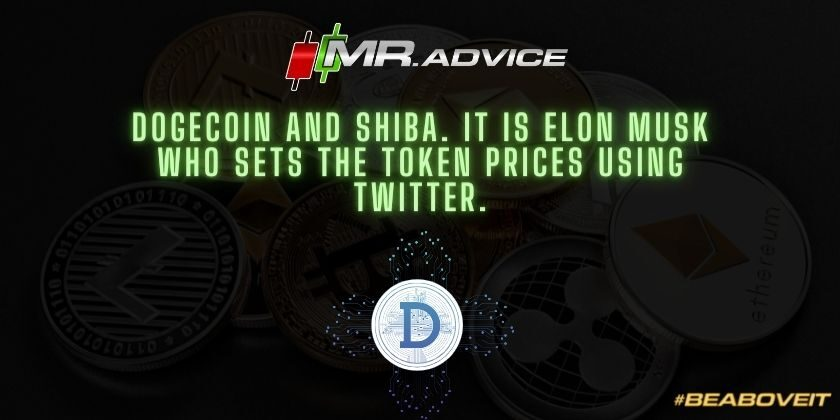 Dogecoin and Shiba. It is Elon Musk who sets the token prices using Twitter.